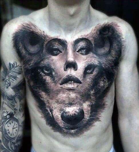 Female Portrait Wolf 3d Optical Illusion Chest Tattoos For Guys