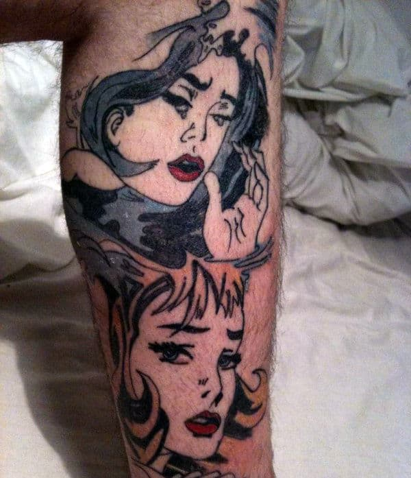 Female Portraits Pop Art Mens Leg Tattoo