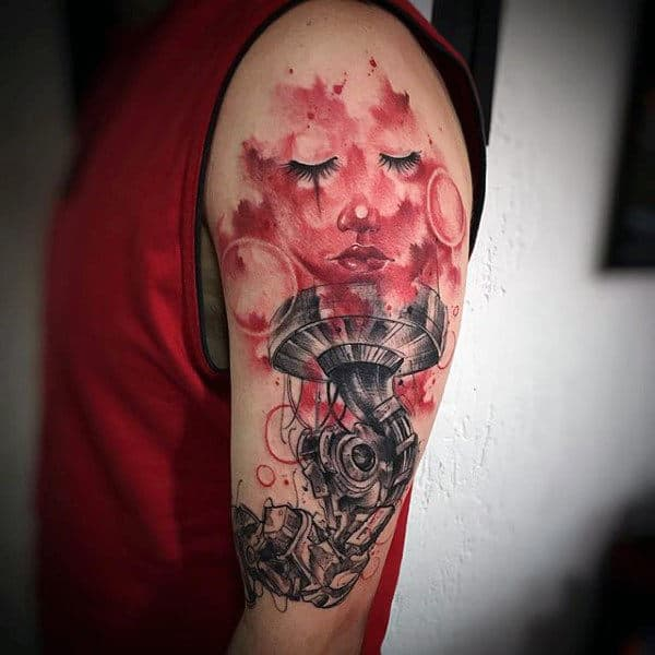 Female Red Watercolor Tattoo On Arms For Men
