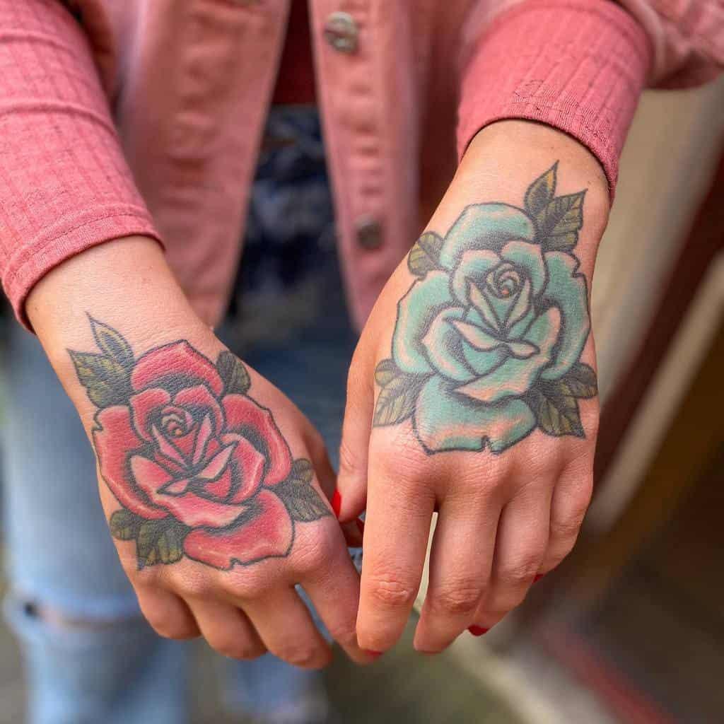 female rose hand tattoos mortenlucky7