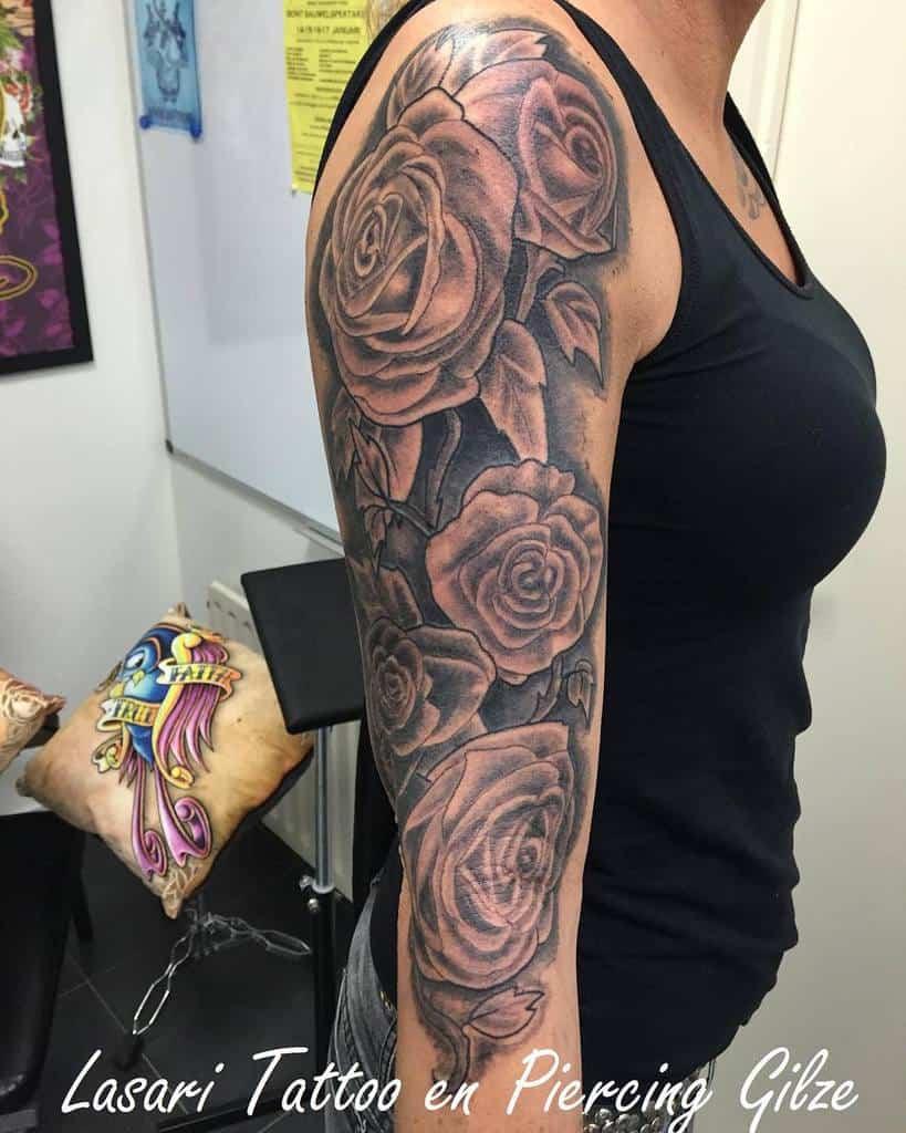 female rose sleeve tattoos jan_lasari