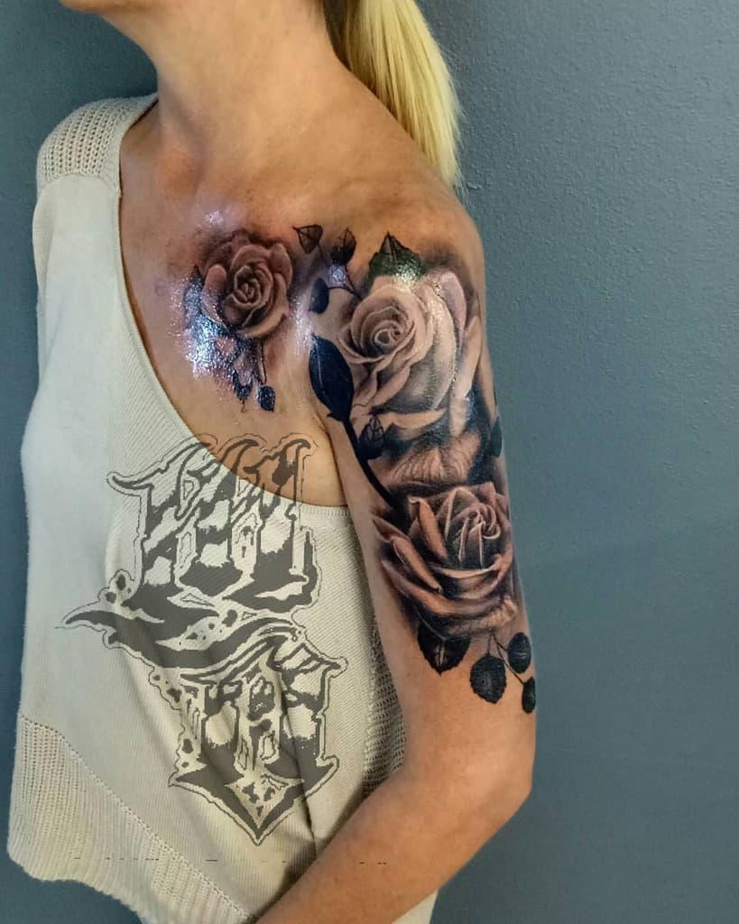 female rose sleeve tattoos oomphytattoos