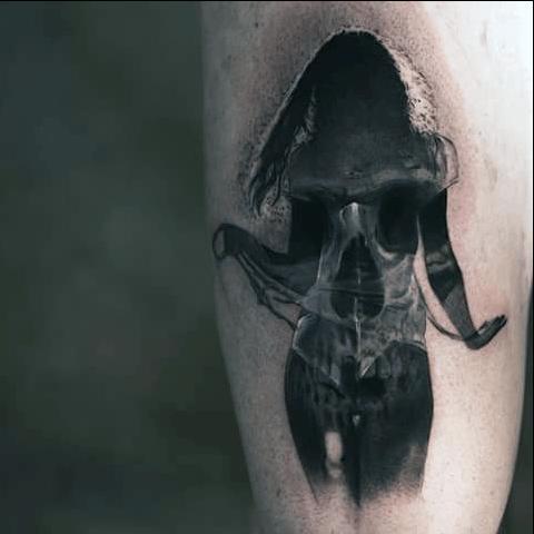 Female Silhouette Inside Of Skull Mens Arm Tattoos