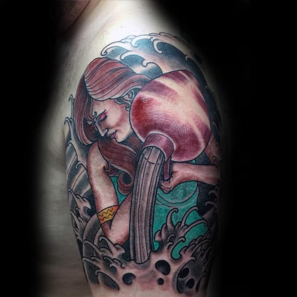 Female Water Barer Aquarius Mens Half Sleeve Tattoos