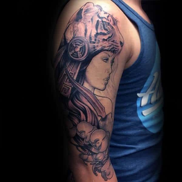 Female Wearing Animal Hat Mens Orchid Flower Full Arm Tattoo