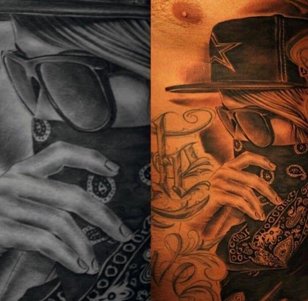 Female With Bandana And Dallas Cowboys Football Hat Guys Rib Cage Side Tattoo