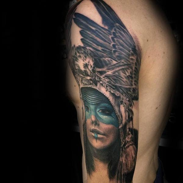 Female With Eagle Creative Arm Tattoos For Guys
