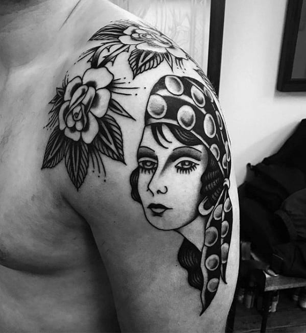 Female With Flower Guys Traditional Shoulder Tattoo