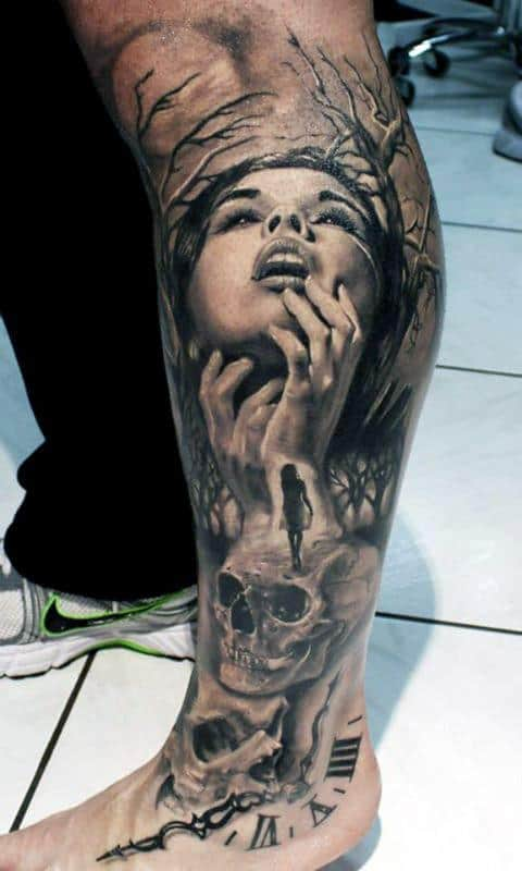 Female With Skulls Life Death Male Leg Sleeve Tattoo Designs