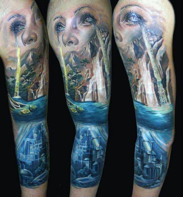 Female With Tears Mens Waterfall Sleeve Tattoo