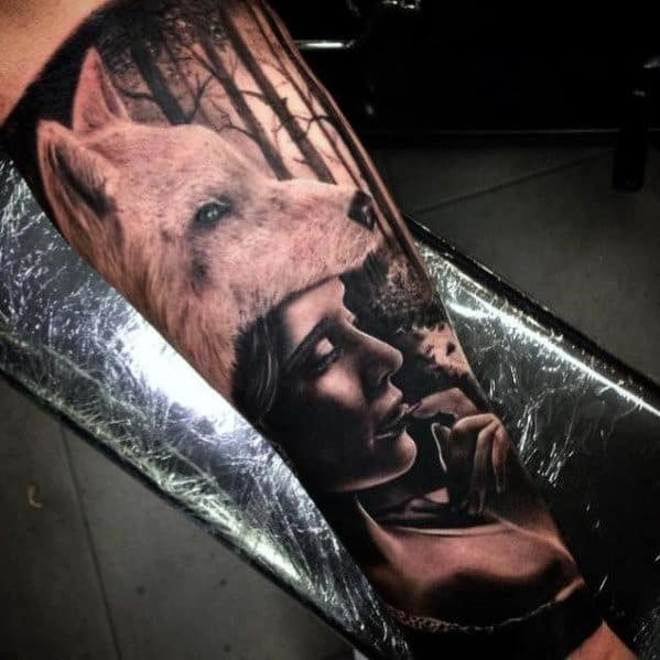 female-with-wolf-head-in-forest-mens-realistic-leg-sleeve-tattoo