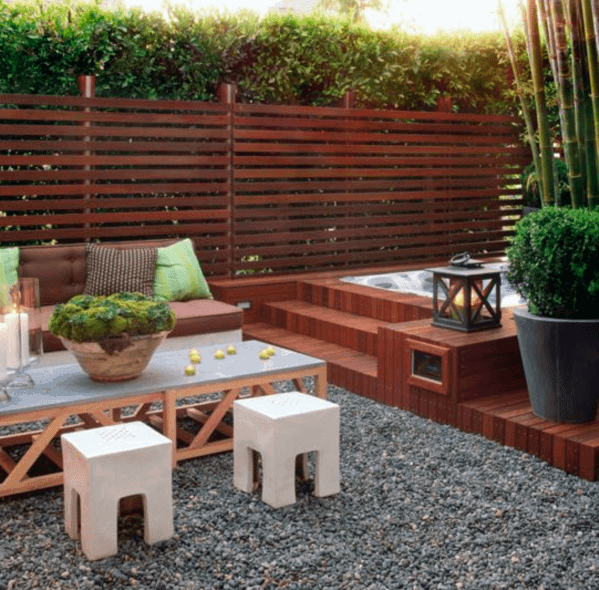 Fenced In Gravel Patio Cool Backyard Ideas