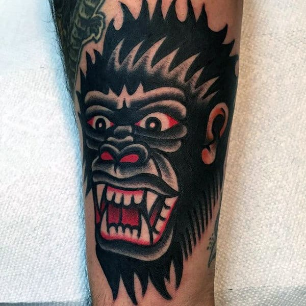 Ferocious Black Gorilla Tattoo Traditional American Mens Forearms