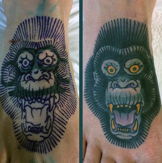 Ferocious Chimapanzee Tattoo On Foot For Men