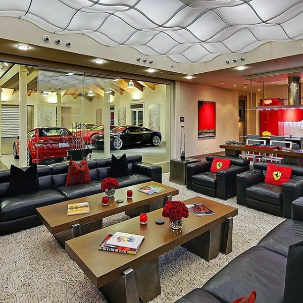 Ferrari Themed Mens Dream Garage With Bar And Lougne