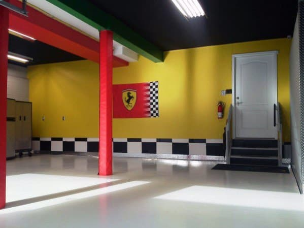 Ferrari Themed Yellow Black Garage Wall Interior Ideas
