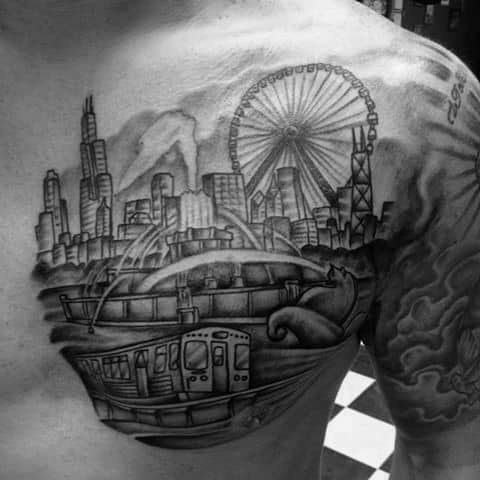 Ferris Wheel Tattoo Designs For Gentlemen