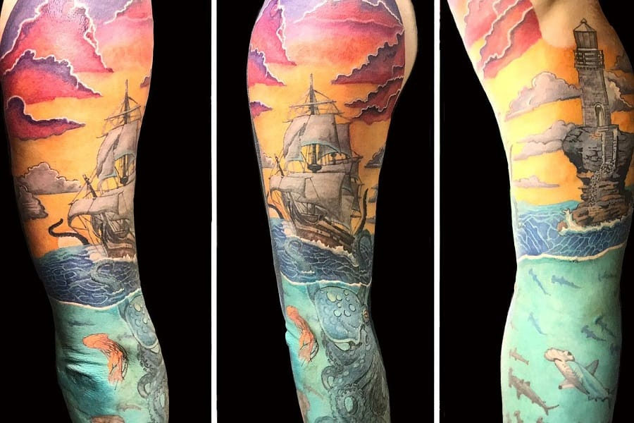 Top 77 Best Ocean Tattoo Ideas – [2020 Inspiration Guide]