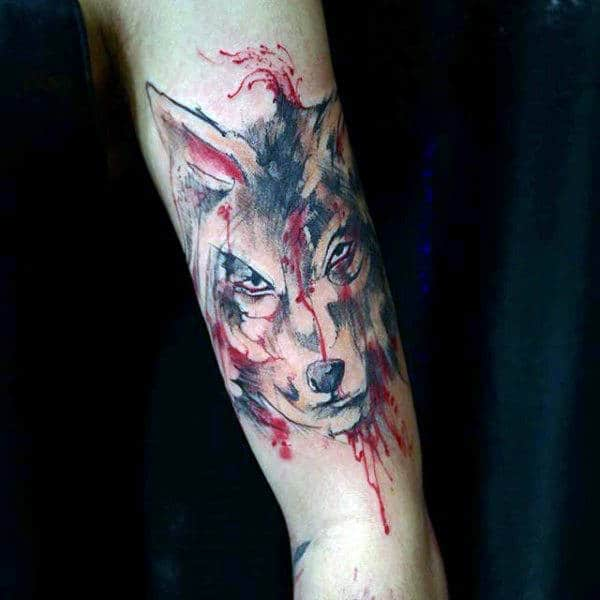 Fierce Beast Watercolor Tattoo On Forearms Guys