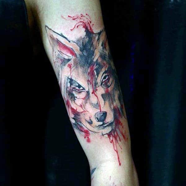 Fierce Beast Watercolor Tattoo On Forearms Guys