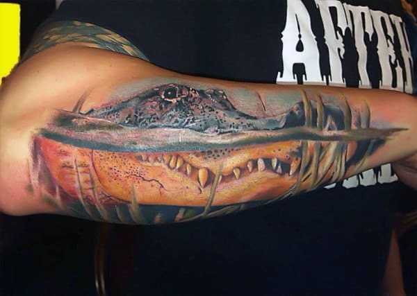 Fiery Alligator Tattoo On Elbows For Men