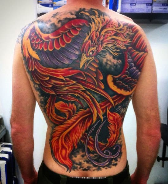 Fiery And Raging Red Eagle Tattoo Mens Full Back
