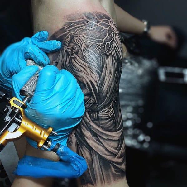 Fiery Blazing Mythological God Tattoo On Arms For Men