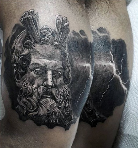 Fiery Greek God With Lightening Tattoos On Chest For Men