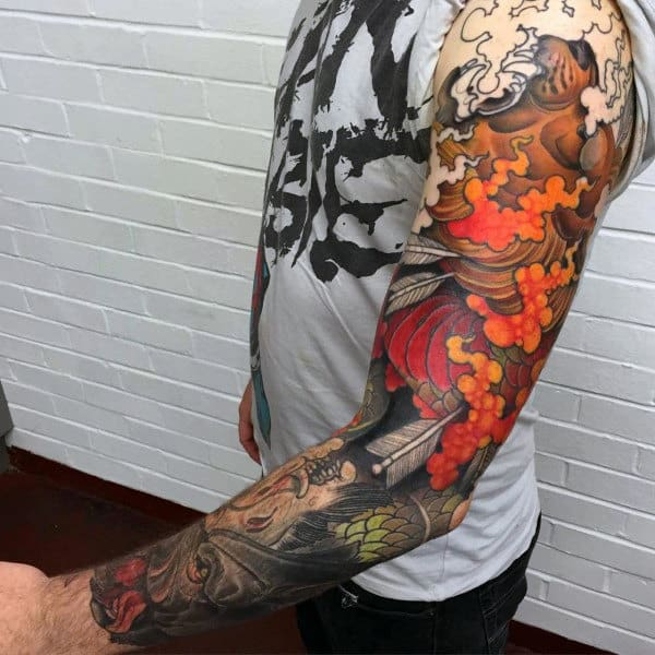 Fiery Red Cool Dragon Tattoo Male Full Sleeves