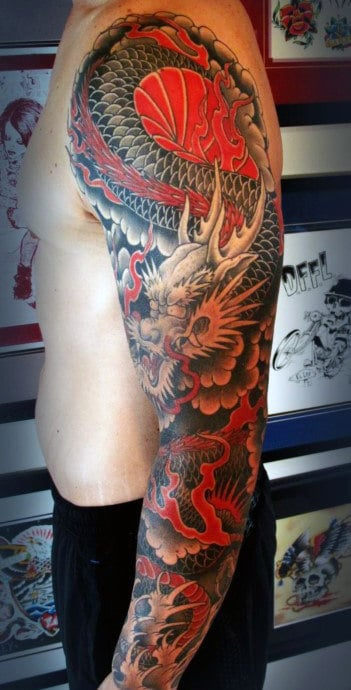 Fiery Red Japanese Sleeve Tattoo Males