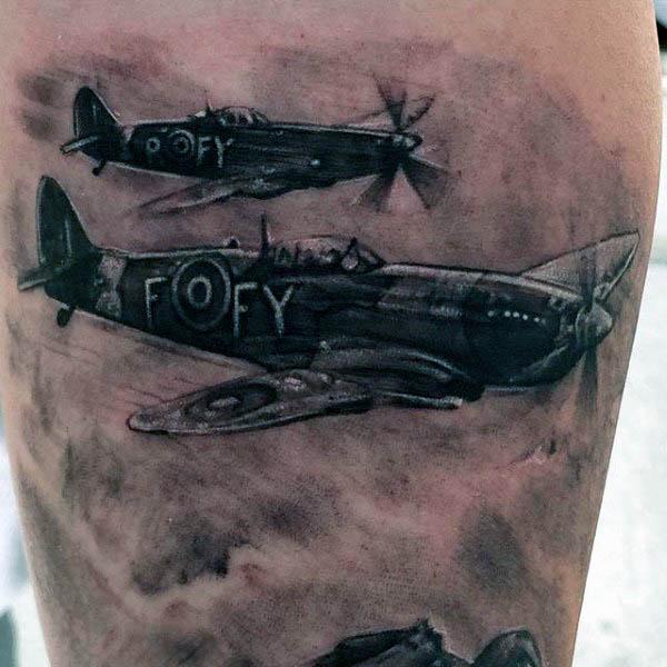 Fighter Airplane Men's Tattoos