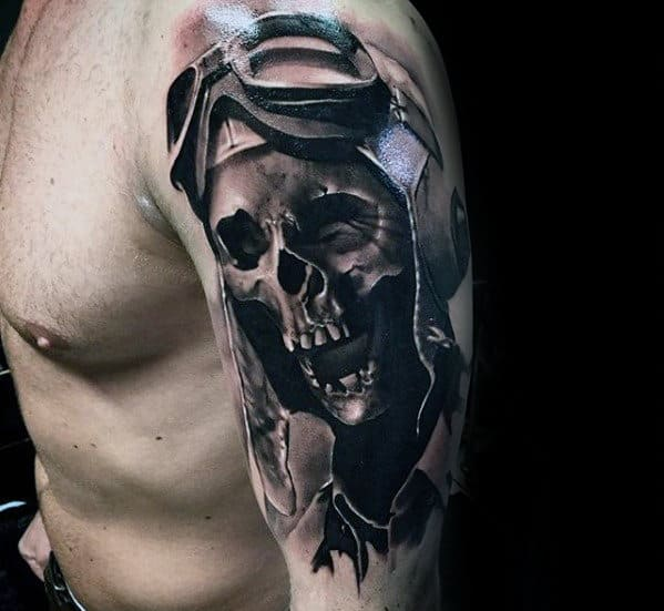 Fighter Pilot 3d Realistic Mens Skull Arm Tattoo