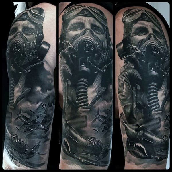 Fighter Pilot Portrait Male Black Ink Half Sleeve Tattoo Designs