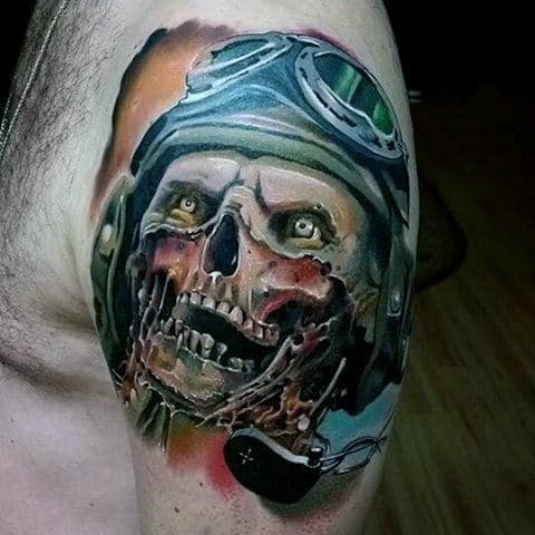 Fighter Pilot Zombie Upper Arm Mens Watercolor Tattoo