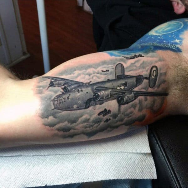 Fighter Plane Clouds Tattoo Guys Inner Arms