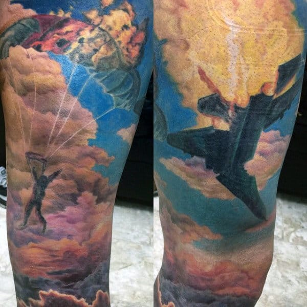 Fighter Plane Fire Mens Sky Sleeve Tattoos