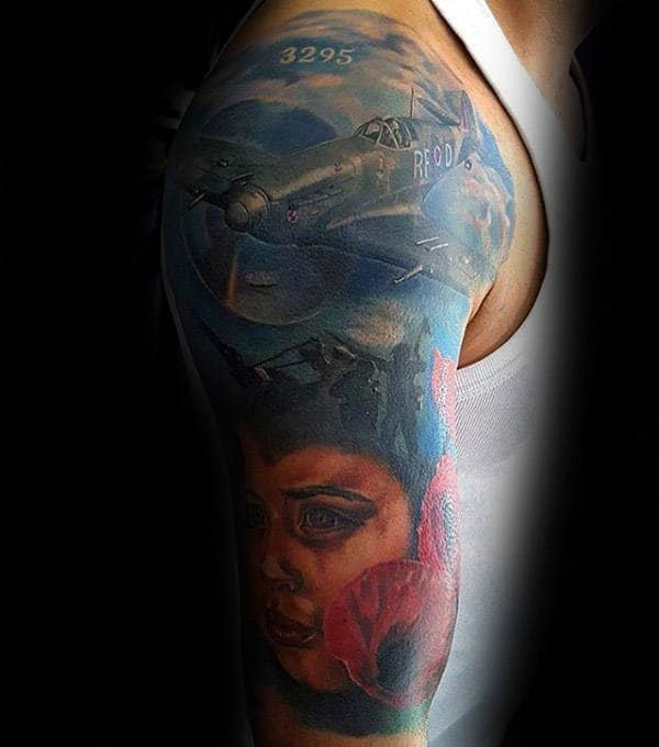 Fighter Plane Guys Memorial Poppy Flower Military Themed Sleeve Tattoo