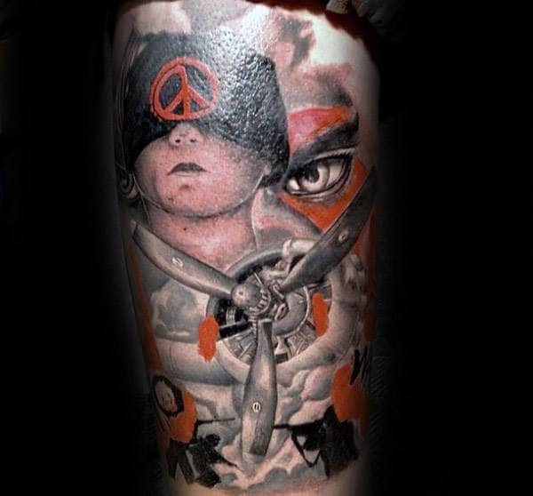 Fighter Plane Peace Sign Mens Arm Tattoos