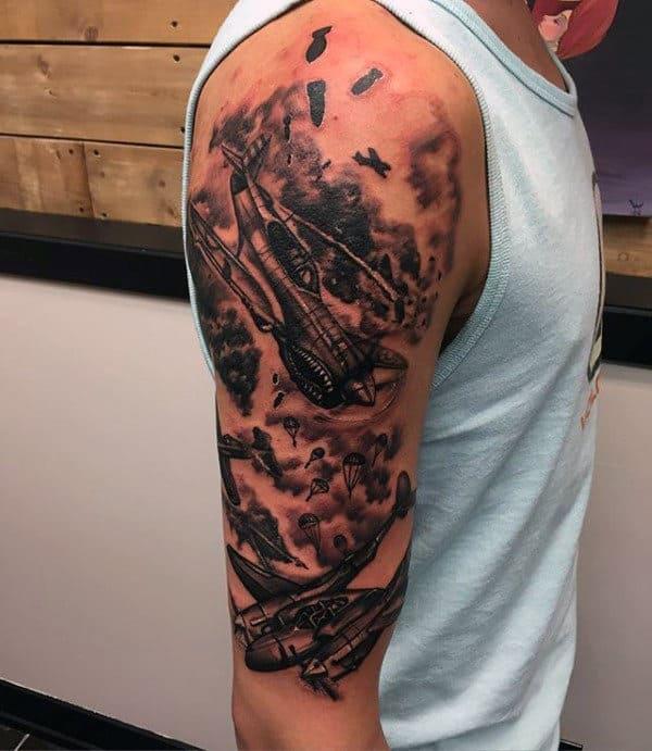 Fighter Planes Male Ww2 Arm Tattoo Design Ideas