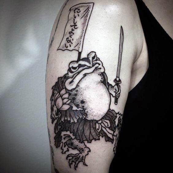 Fighting Frog Mens Dotwork Upper Arm Tattoos