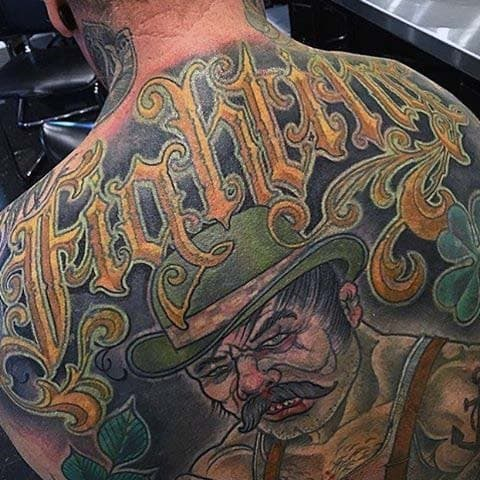 Fighting Irish Mens Full Back Tattoos