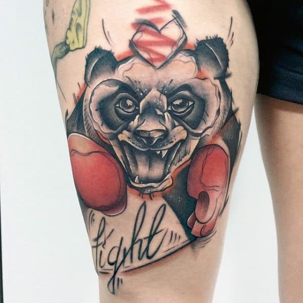 Fighting Panda Bear Mens Watercolor Thigh Tattoos