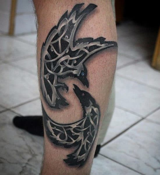 Fighting Ravens Tattoo On Calves For Men