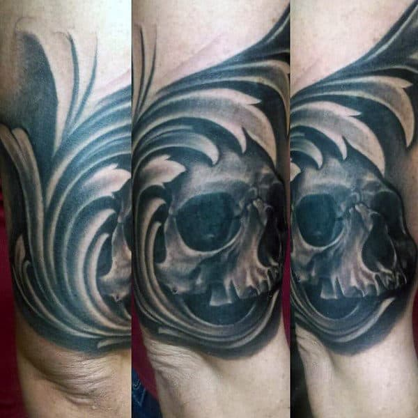 Filigree And Skull Mens Outer Forearm Tattoos
