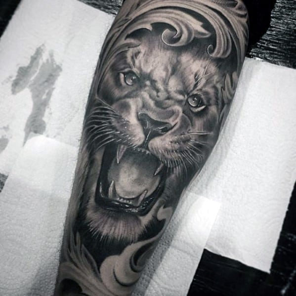 Filigree Mens Lion Forearm Sleeve Tattoos