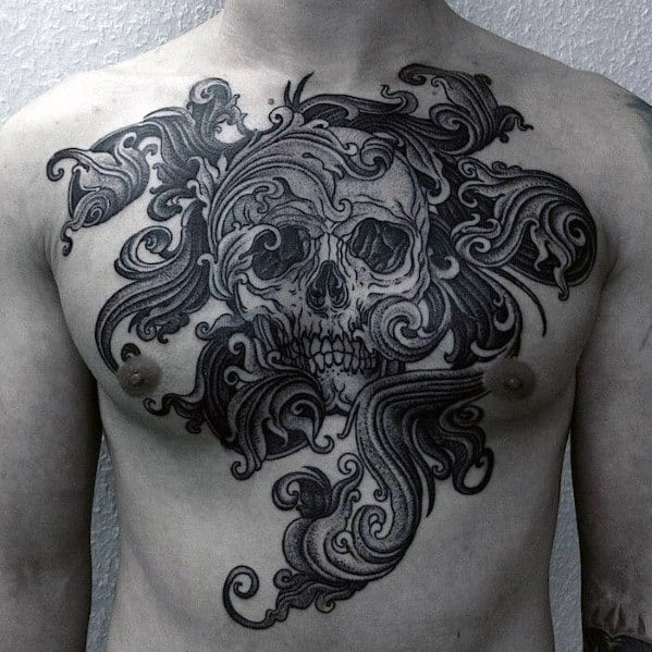Filigree Mens Ornate Skull Chest Tattoo