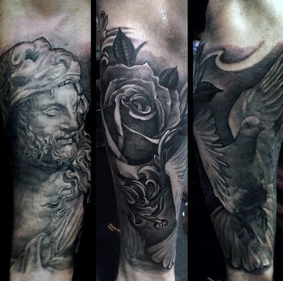 Filigreerose Flower Mens Sleeve Tattoo On Forearm