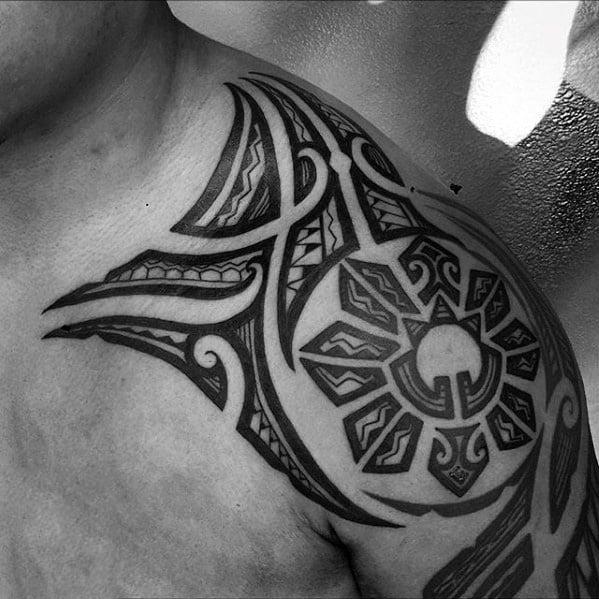 Filipino Sun Tattoo Design On Man On Shoulder