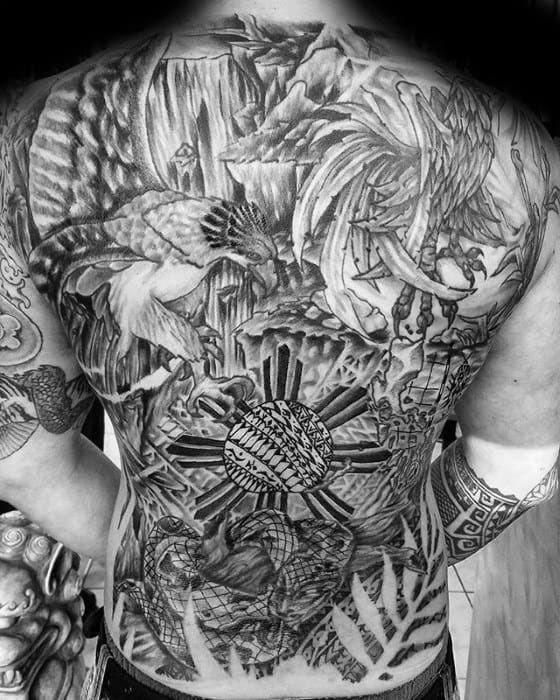 Filipino Sun Tattoo Designs For Guys On Full Back