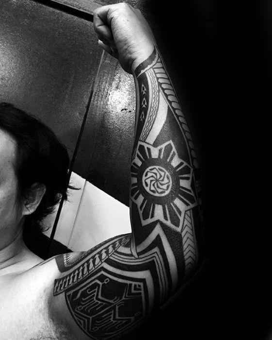 Filipino Sun Tattoo Ideas For Males Full Arm Sleeve
